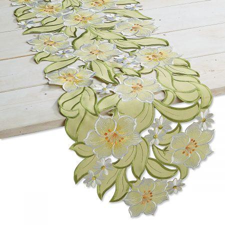 Green Daisies Cutwork Table Runner