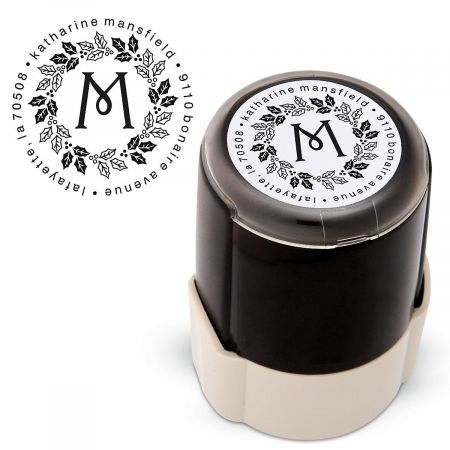 Wreath Round Address Stamp