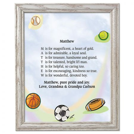 Sports Balls Framed Name Poem Print | Colorful Images