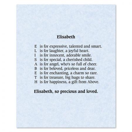Parchment Blue Name Poem Print