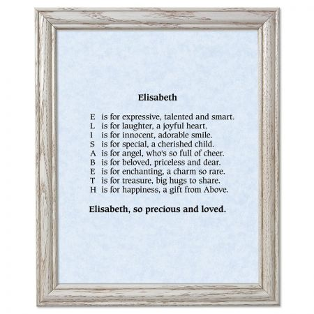 Parchment Blue Framed Name Poem Print