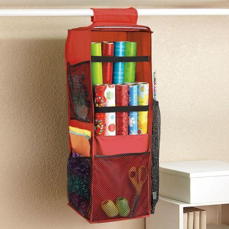 Closet Rod Gift Wrap Organizer