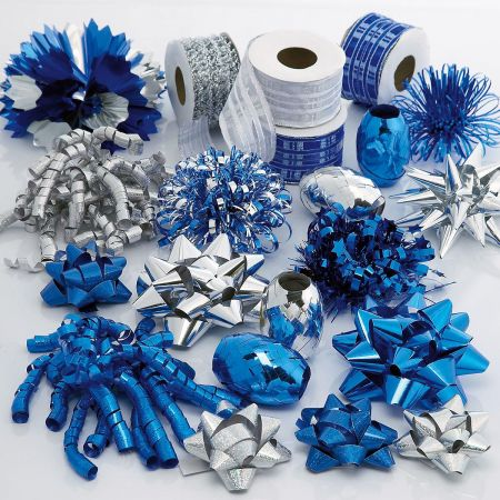Silver and Blue Holiday Ribbon and Bow Value Pack