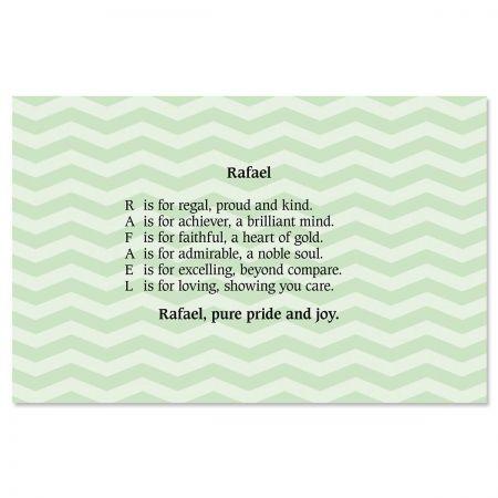 Chevron Mint Name Poem Placemat
