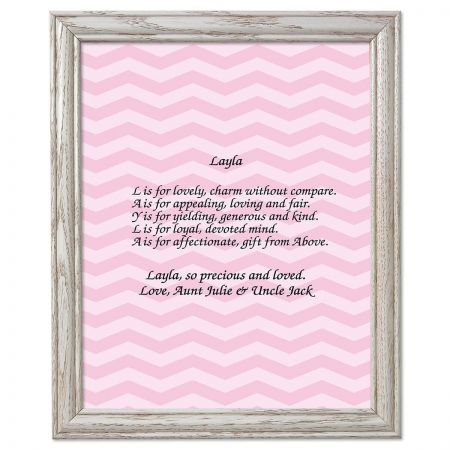 Chevron Pink Name Poem Framed Print