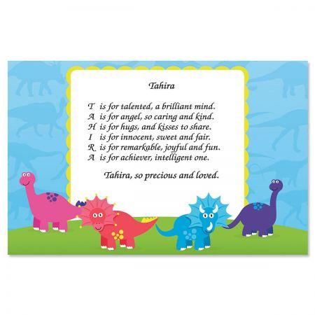 Dinosaur Name Poem Placemat