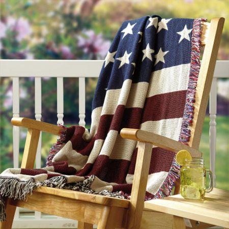 American Flag Cotton Throw