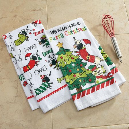 Furry Christmas Kitchen Towels