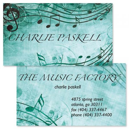 Aqua Sheet Music Double-Sided Business Cards