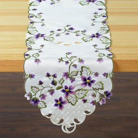Purple Violets Cutwork Table Runner