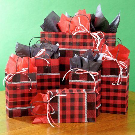 Buffalo Plaid Gift Bag Set