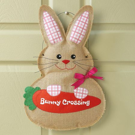 Burlap Bunny Door Decor