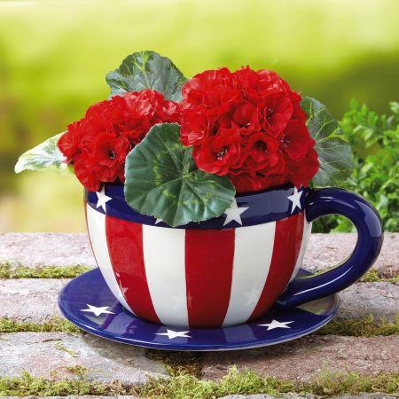 Patriotic Teacup Flower Pot