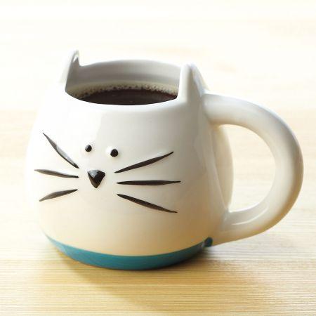 White Cat Novelty Mug