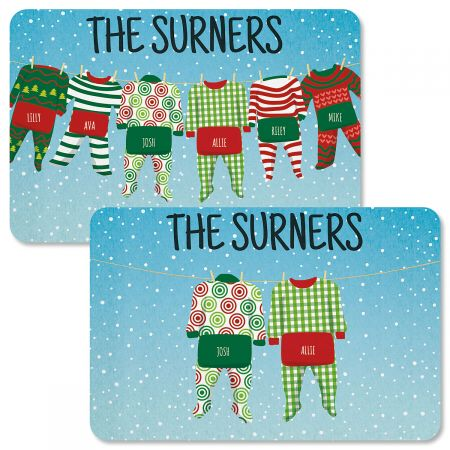 Pajama Family Personalized Christmas Doormats