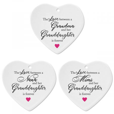 Granddaughter Heart Holiday Ornaments