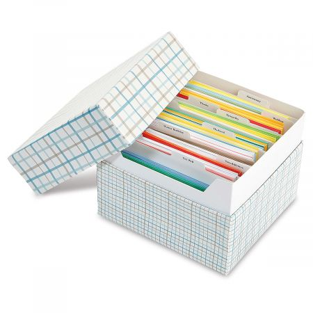 Colorful Stripes Greeting Card Organizer Box and Labels