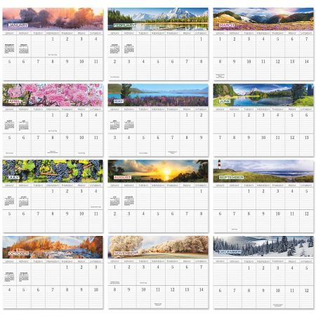 2020 Changing Seasons Big Grid Calendar with Pockets