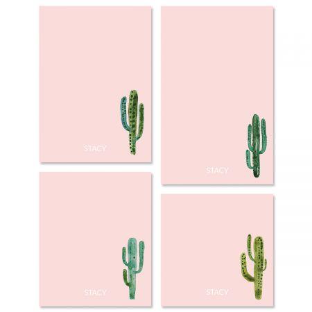 Watercolor Cactus Initial Custom Memo Pad Sets