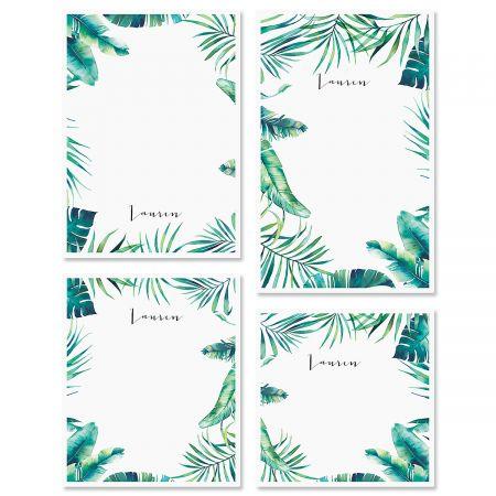 Leafy Greens Border Custom Memo Pad Sets
