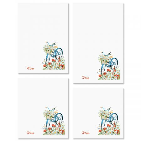 Floral Bike Custom Memo Pad Sets