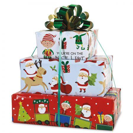 Santa's Helpers Flat Gift Wrap Sheets - Buy 1 Get 1 Free