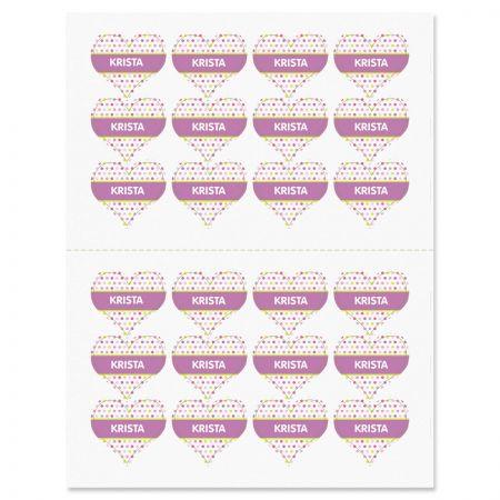 Custom Polka Dot Heart Stickers