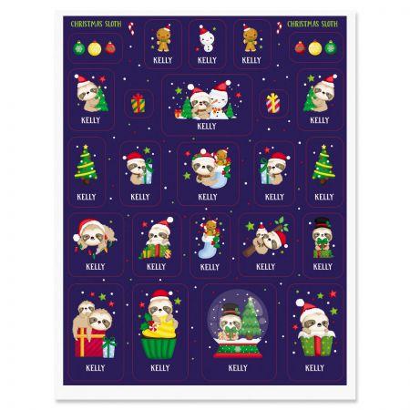 Custom Christmas Sloth Stickers