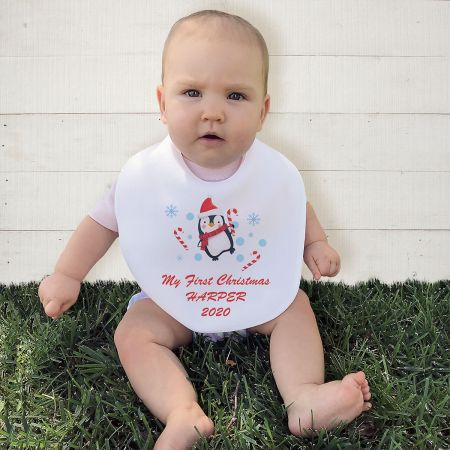 Personalized Baby's First Christmas Bib