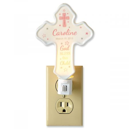 Custom Bless This Child Cross Pink Nightlight