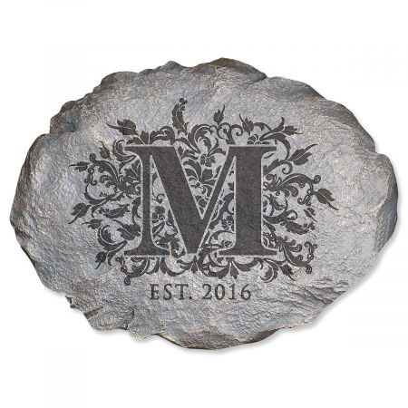 Floral Initial Custom Garden Stone