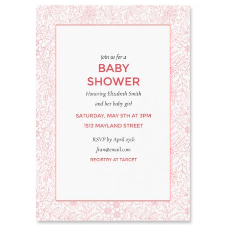 Custom Red Floral Frame Shower Invitations