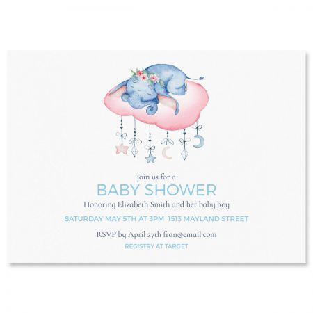 Custom Sleepy Elephant Shower Invitations