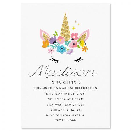 Custom Bashful Unicorn Birthday Invitations