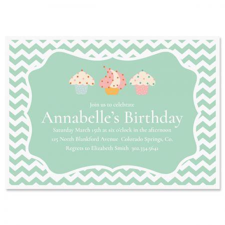Custom Cheveron Cupcake Birthday Invitations