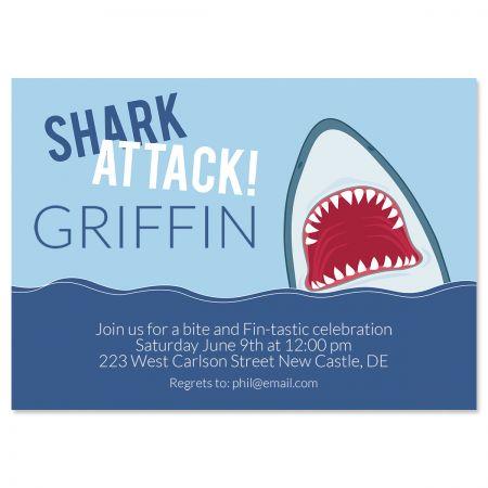 Custom Shark Attack Birthday Invitations