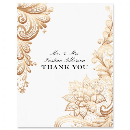 Custom Gold Lace Thank You Cards