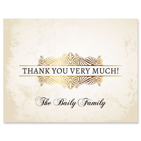 Custom Rustic Gold Thank You Cards
