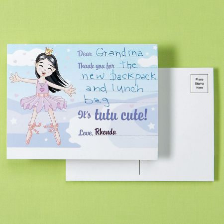 Ballerina Custom Thank You Postcards