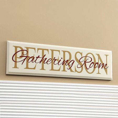 """Gathering"" Room Personalized Wooden Plaque"