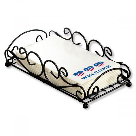 Black Metal Scroll Towel Basket