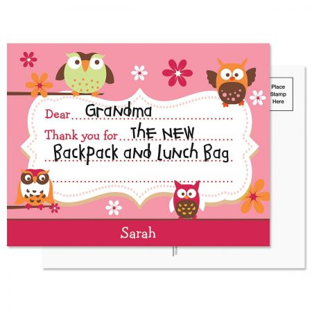 Owl  Personalized Thank You Postcards
