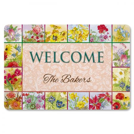 Beautiful Flowers Personalized Doormat