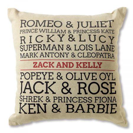 Famous Couples Personalized Burlap Pillow