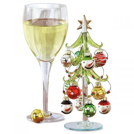 Art Glass Tree with Wine-Charm Ornaments