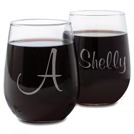 Stemless Custom Script Wine Glasses