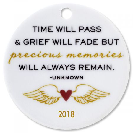 Custom Time Will Pass Round Memorial Christmas Ornament
