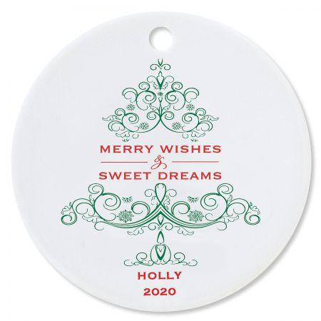 Custom Merry Wishes Round Christmas Ornament