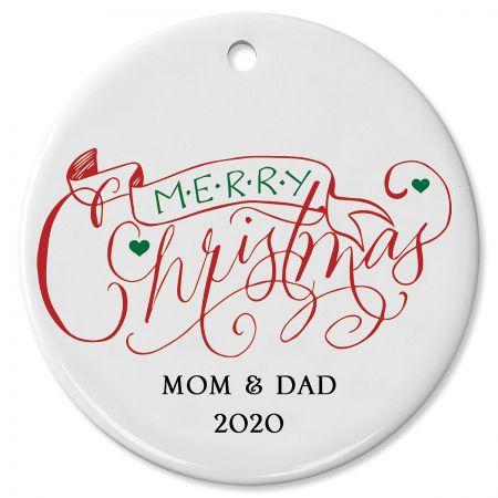 Merry Christmas Banner Custom Christmas Ornament
