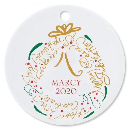 Wreath Round Custom Christmas Ornament